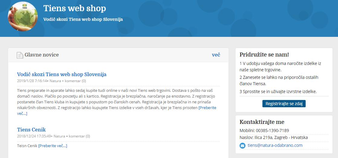 Tiens web shop